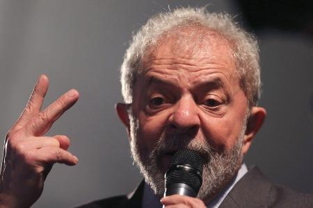 Former Brazilian President Luiz Inacio Lula da Silva speaks after giving testimony to federal judge Sergio Moro in Curitiba